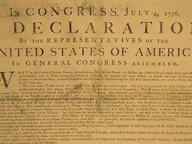 The Declaration of Independence was signed by 55 men from 14 colonies.