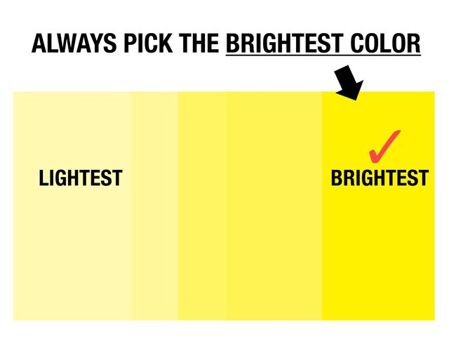 "Instructions: Pick the ""BRIGHTEST"" color:"