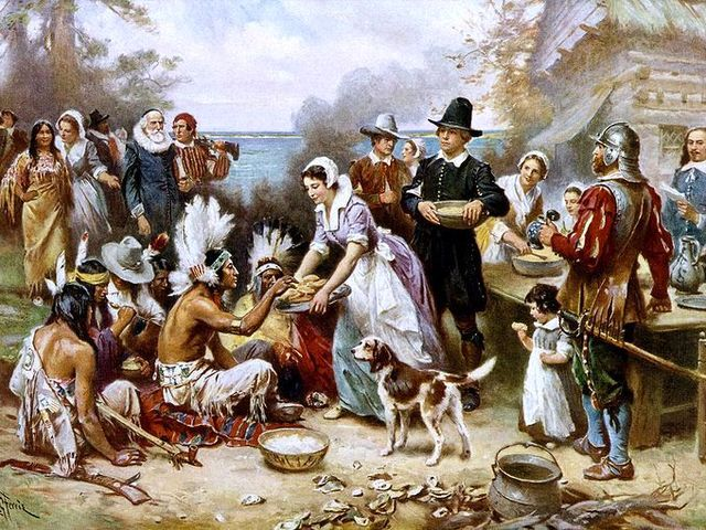 The first Thanksgiving in _________ was celebrated by the colony at Plymouth Rock and the Wampanoag tribe who helped them survive the winter.