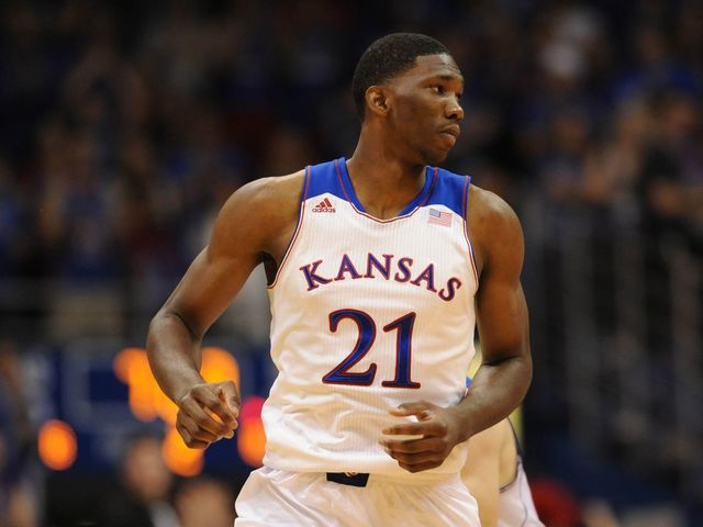 What was Embiid's college number?