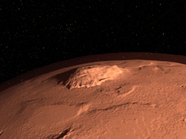 Olympus Mons, the tallest known peak in the solar system (16.7 miles high, 3 times higher than Mr. Everest), is on Mars.