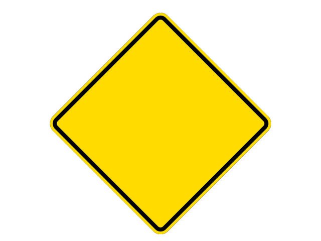 A yellow and black diamond-shaped sign...