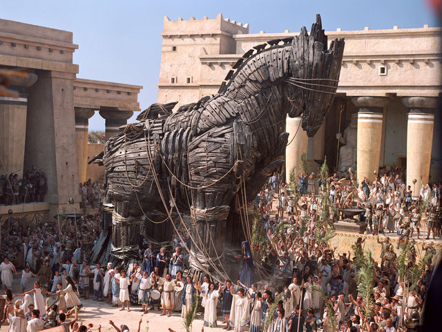 Troy was captured by soldiers in a wooden horse.