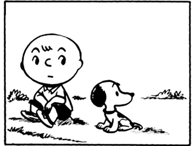 Who is the only character depicted in both the first Peanuts comic in 1950 and the final comic in 2000?