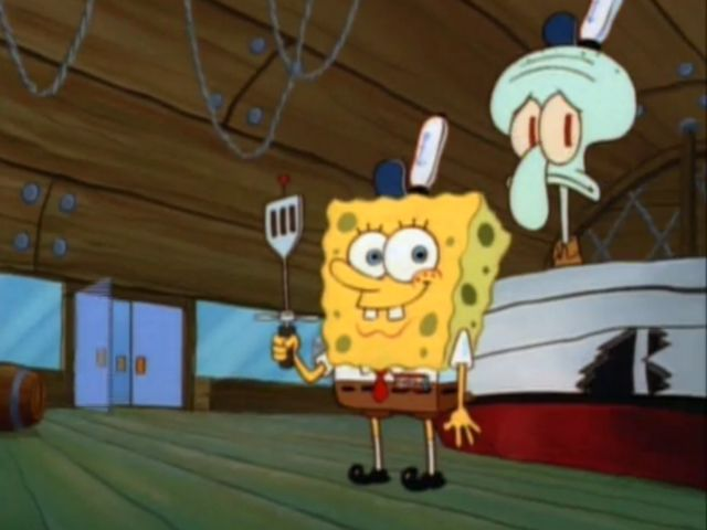 Who comes in and orders a Krabby Patty at the end of the episode?