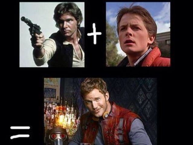 The childish nature of McFly and the rough demeanor of Solo come together in Star Lord