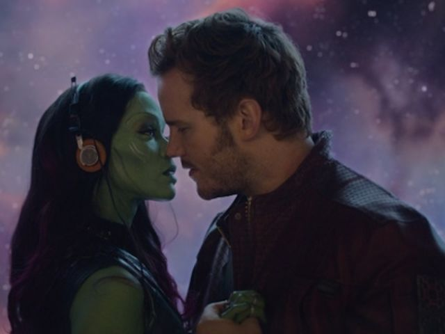 Star Lord and Gamora get very close to kissing but it never happens.