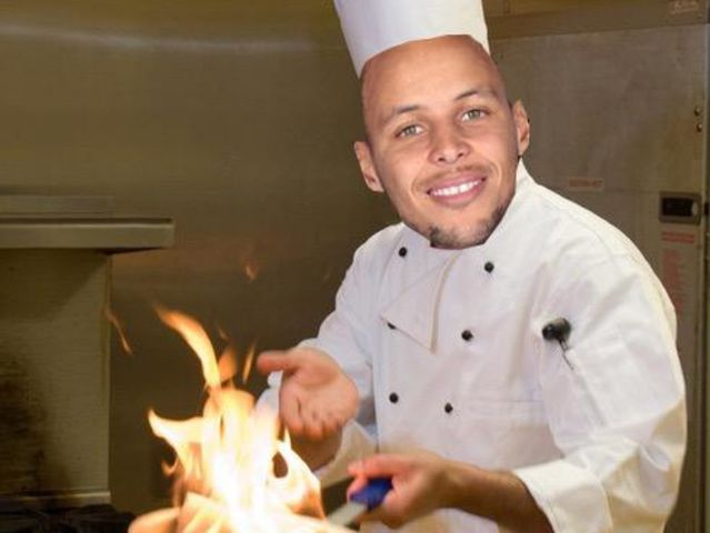Chef Curry! Shooting a whole .1 % better at .440 to James' .342, Chef Curry lights it up from behind the arc!