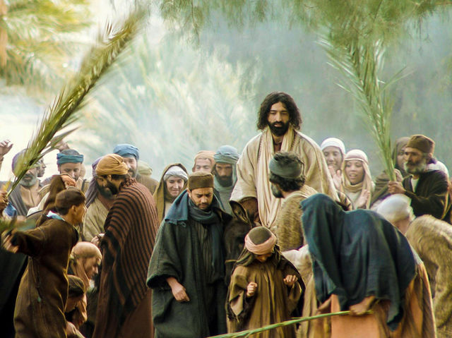The Sunday before his death, people welcomed him into Jerusalem as a prophet and king. What tree branches did they wave and lay on the road to welcome him with?