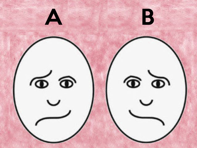 Which face looks happy between picture A and B?