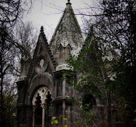 Touring an abandoned gothic mansion