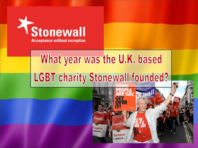 What year was the charity Stonewall founded?