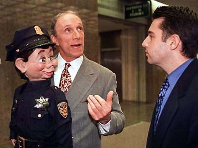 Horrifying as it may seem, Officer Bob Geary was permitted to take dummy Brendan O'Smarty with him on patrol.