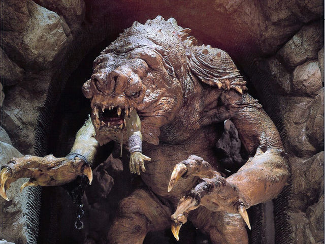 Where might you come across the terrifying and voracious Rancor?