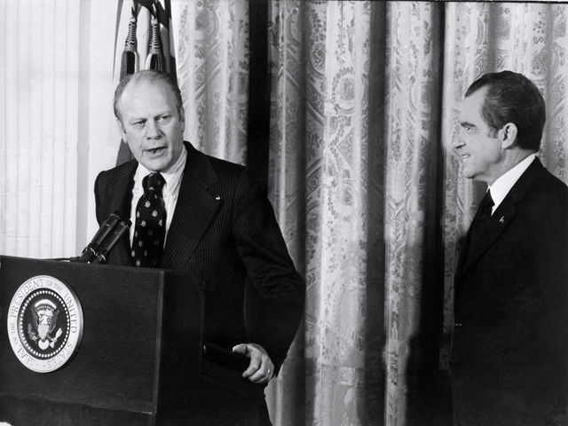 Ford became Vice President in 1973 after Spiro Agnew resigned. He then became President in 1974 after President Nixon's resignation.
