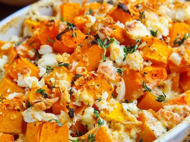 Some feta on top of sweet potatoes is oh-so mouthwatering