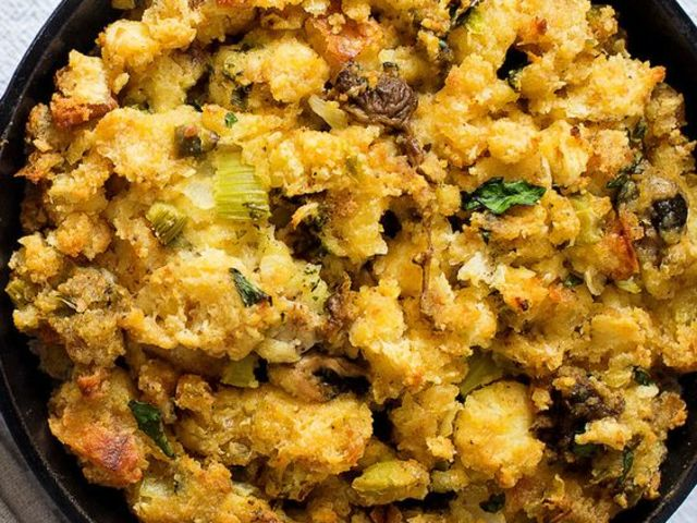 A Southern favorite: cornbread and oyster dressing!