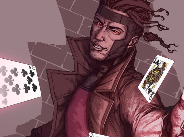 What game does Gambit always seem to be playing in his short scenes within a certain X-Men movie?