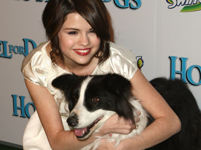 What is the name of Selena's dog shown in this picture?