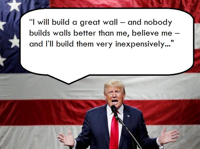 """I will build a great, great wall on our southern border, and I will make Mexico pay for that wall. Mark my words."" - Trump on Mexico."