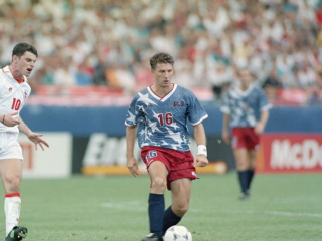 a510b0aeb65 USA at the 1994 World Cup. It looked like the shirt was made of denim and  even the players thought they looked ridiculous. However