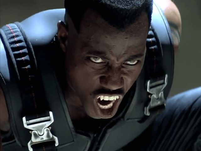 Technically, Blade is like half vampire? And he's also a vampire hunter? But how iconic is Wesley Snipes, right?