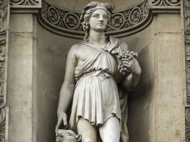 Bacchus is the Roman god of wine. What is his Greek name?