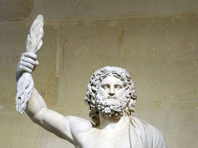 Jupiter is the Roman kind of the gods. What is his Greek name?