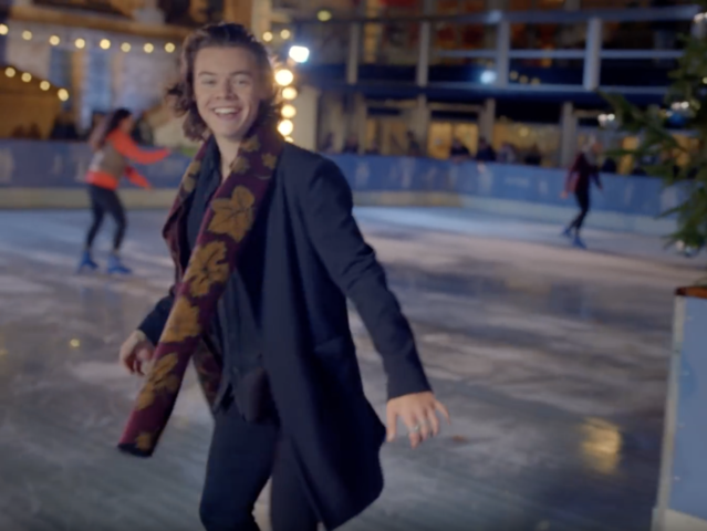 What color are the ice skates Harry gives his date?