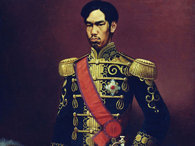 Which event resulted in the restoration of the Emperor Meiji?