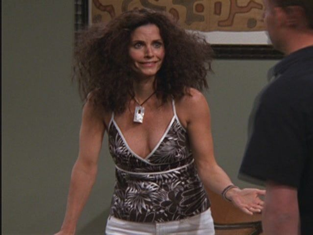 Where does Monica's hair go like this?