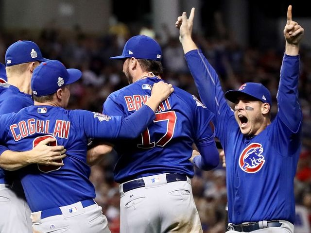 Which Chicago Cub won the World Series MVP award after his team came back to win the title and break a 108-year championship drought?