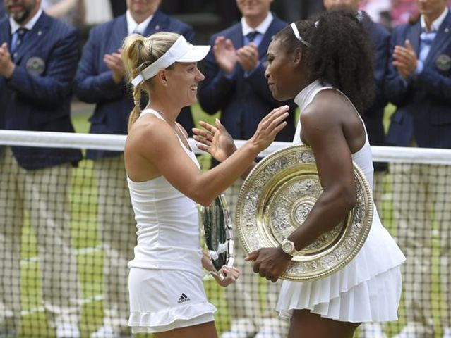 Williams defeated Angelique Kerber, who won 2 Slams herself in 2016 and took the #1 ranking, at Wimbledon to tie Graf atop the Open era.