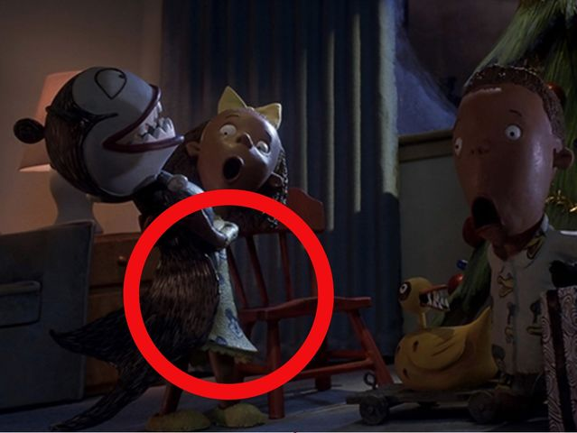 The little girl's pajamas in this scene are covered with Mickey's face!