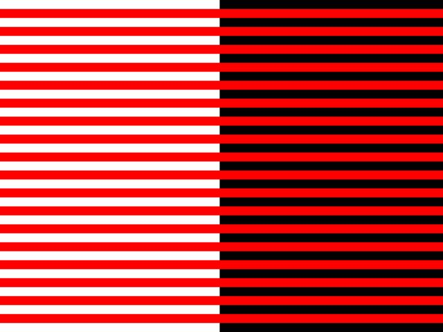 On which side do the red lines become darker?