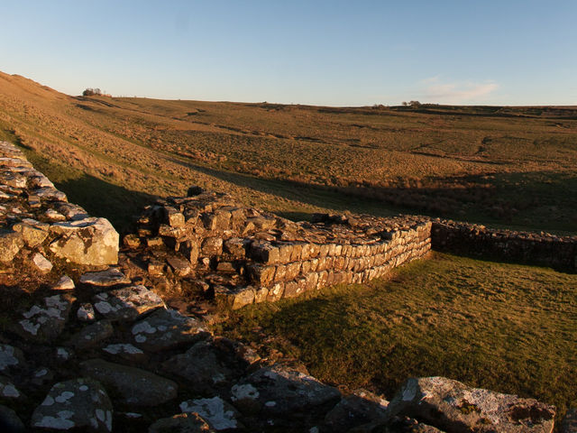 The milecastle at Cawfields was built at which weak spot in Hadrian's Wall?