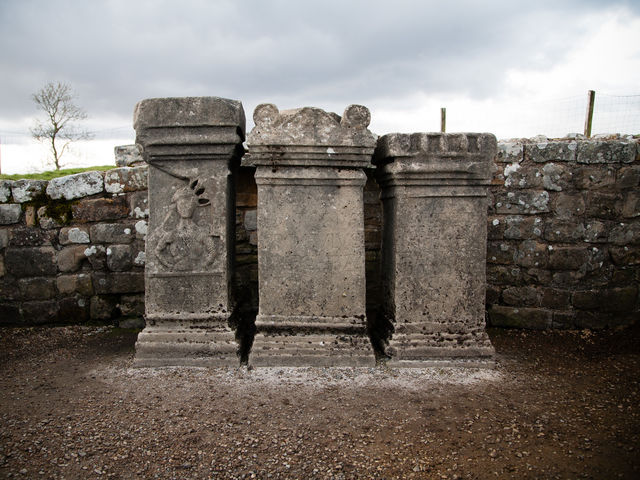 Which Roman God was worshipped at Hadrian's Wall's Brocolitia Temple?