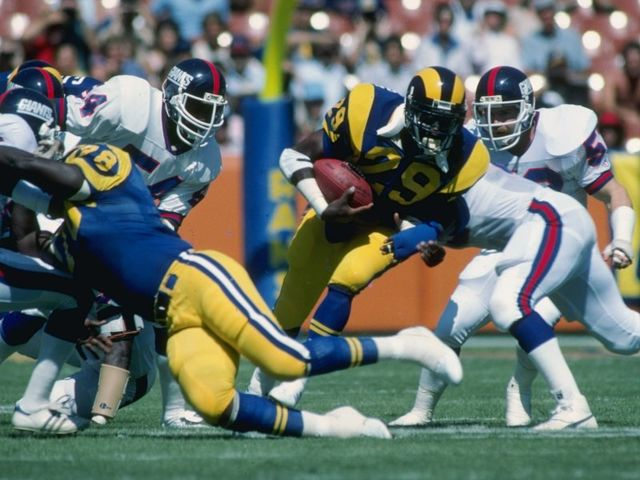 Hall of Fame running back Eric Dickerson made his final rush yards as a member of which team?