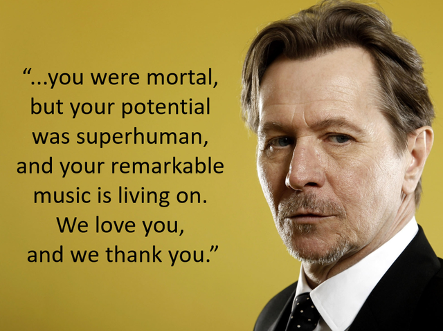 Who was Gary Oldman referring to in his tribute?