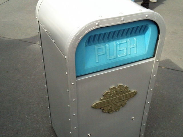 Assuming you're an average-sized adult, you're never more than how many steps away from a trash can at a Disney park?