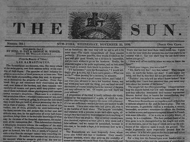 The Sun, published by Benjamin Day, was the first penny paper in the United States.