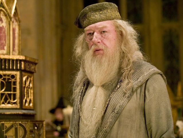 The long beard and inexplicable nightcap belong to none other than Albus Dumbledore, Hogwarts Headmaster!