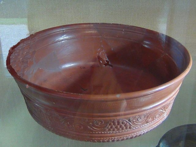 High status Samian ware was found in Caldecote. The Romans imported it from...
