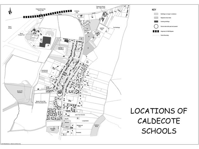 How many school sites were there in Caldecote over the past century