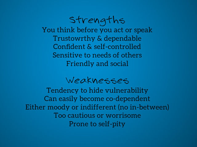 your weaknesses and strengths according to your favorite