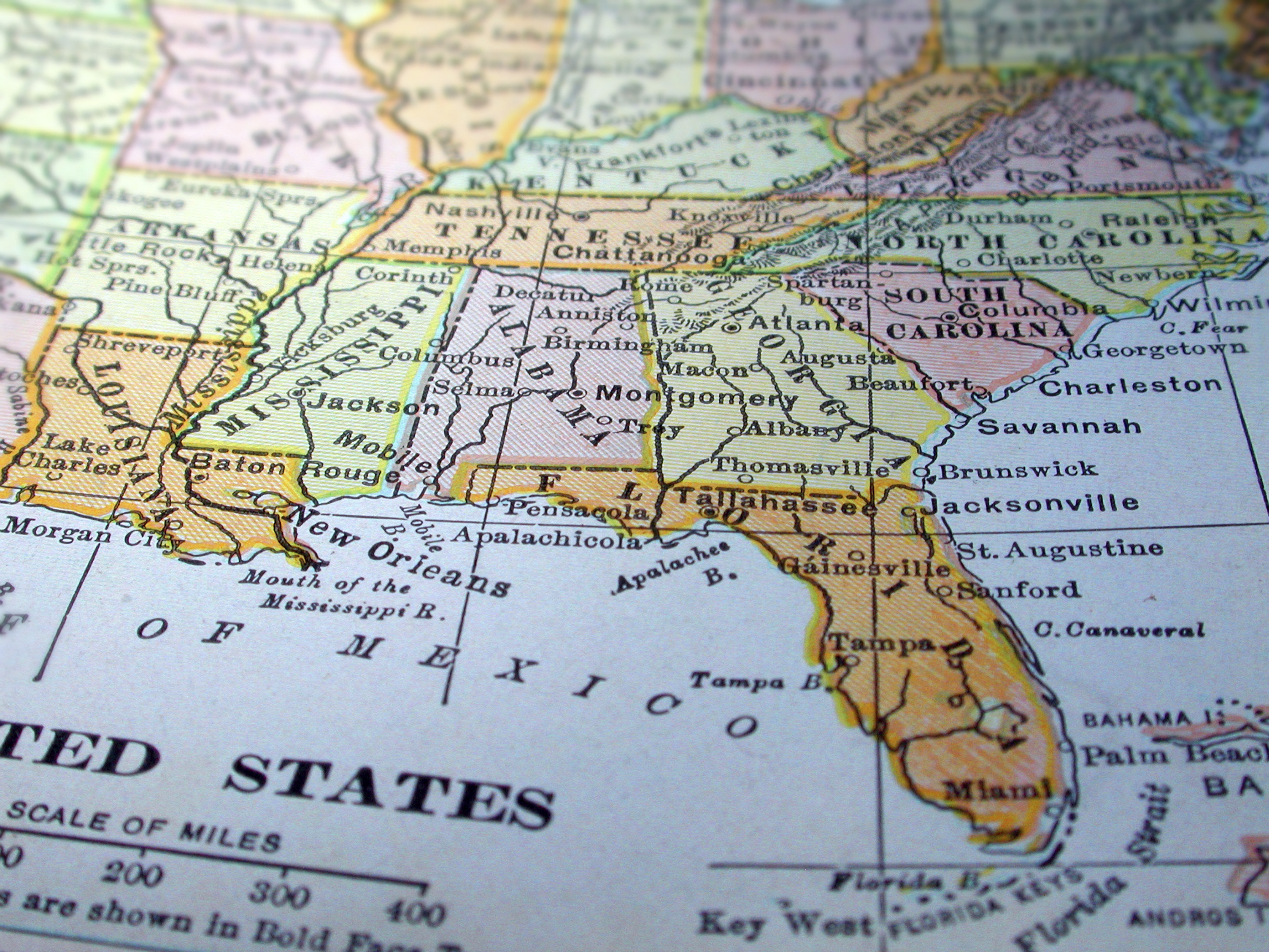 Vintage USA Map Southern States Stock Photo Picture And Royalty - Map usa southern states