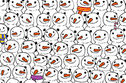 Can you find the panda among these snowmen?