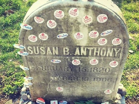 "Women Have Been Leaving ""I Voted"" Stickers On Susan B Anthony's Grave"