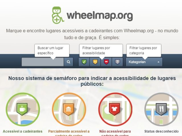 Tecnologia Assistiva - aplicativo wheelmap.org - Tela principal do site wheelmap.org